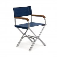 High-End Folding Aluminum Boat Chair with Teak Armrests -Blue Vinyl- A6000VBT