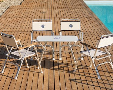 Folding Aluminum Boat Chair With Teak Or Iroko Armrests  Off White  M100W