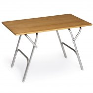 Folding Aluminum Teak Boat Table- 66 x112 cm - Adjustable to 2 Fixed Heights M600T