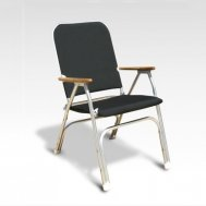 NEW !! Folding Aluminum Padded DINNER Boat Chair with Teak Armrests D100NB