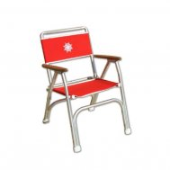 Folding Aluminum Boat Chair with Teak or Iroko Armrests -Red- M100R