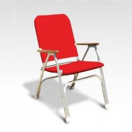 Folding Aluminum High Back Padded Large Boat Chair with Teak or Iroko Armrests -Red- V100R