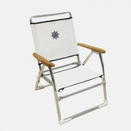 Folding Aluminum Beach Chair White OR Blue Textilene & Wooden Armrests 'Plaz' PA600AT