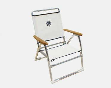 Folding Aluminum Beach Chair White OR Blue Textilene U0026 Wooden Armrests  U0027Plazu0027 PA600AT