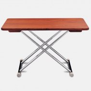 High-End Folding Aluminum Teak Boat Table - 125 x 75 cm-Adjustable to 2 Fixed Heights A8000TT