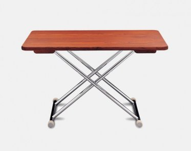 High End Folding Aluminum Teak Boat Table   125 X 75 Cm Adjustable To 2  Fixed Heights A8000TT