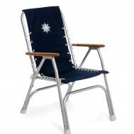 Folding Aluminum High Back Boat Chair with Teak or Iroko Armrests-Navy Blue-M150NB