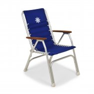 Folding Aluminum High Back Boat Chair with Teak or Iroko Armrests -Blue- M150B