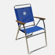 Folding Aluminum Outdoor Chair Blue Textilene & Wooden Armrests 'Classic' PA160BT
