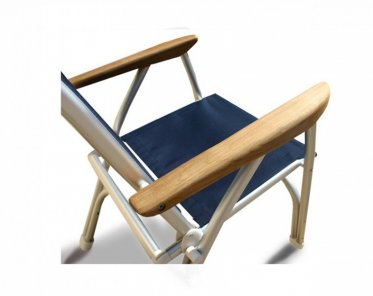 Heavy Duty OVERSIZED Folding Boat Chair With Teak Armrests   120Kg Body  Support  Navy Blue B100NB