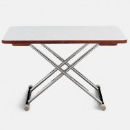 High-End Folding Aluminum and Plywood with White Formica Boat Table 125 x 75 cm - Adjustable to 2 Fixed Heights A8000FT