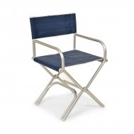 High-End Folding Aluminum Boat Chair -Blue Vinyl- A6000VB