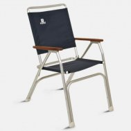 Folding Aluminum OVERSIZED (100Kg body support)  High Back Boat Chair with Teak or Iroko Armrests -Navy Blue- M100LNB