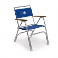 Folding Aluminum Boat Chair with Teak or Iroko Armrests -Blue Textilene- M100VB