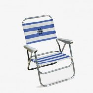 Folding Aluminum Beach Chair Blue/White Stripes Textilene 'Bikini' PA560BS
