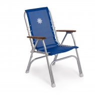 Folding Aluminum High Back Boat Chair with Teak or Iroko Armrests- Blue Textilene-M150VB