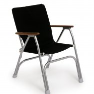 Folding Aluminum Boat Chair with Teak or Iroko Armrests-Black- M120BL