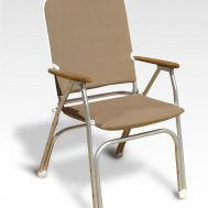 Folding Aluminum High Back Padded Large Boat Chair with Teak or Iroko Armrests -Tan-V100BR