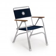 Folding Aluminum Boat Chair with Teak or Iroko Armrests -Navy Blue- M100NB