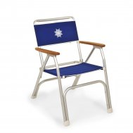 Folding Aluminum Boat Chair with Teak or Iroko Armrests -Blue- M100B