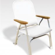 Heavy Duty OVERSIZED Folding Boat Chair with Teak Armrests - 120Kg Body Support -Off White- B100W