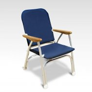 Heavy Duty OVERSIZED Folding Boat Chair with Teak Armrests - 120Kg Body Support -Navy Blue-B100NB