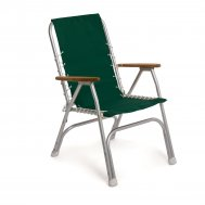 Folding Aluminum High Back Boat Chair with Teak or Iroko Armrests-Forest Green-M150GR
